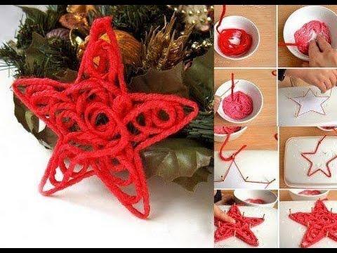 Рождественская Звезда из ниток и клея