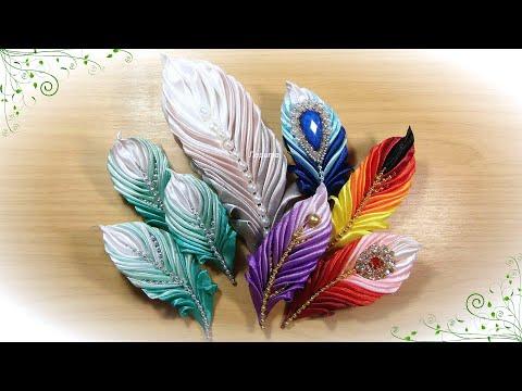 Вам понравились мои пёрышки? Брошь перо из лент своими руками канзаши / satin ribbon brooch