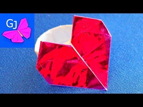 Оригами из бумаги Кольцо с сердечком