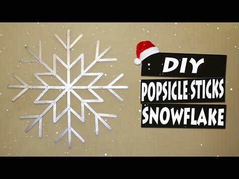DIY How To Make Popsicle Sticks BIG Snowflake