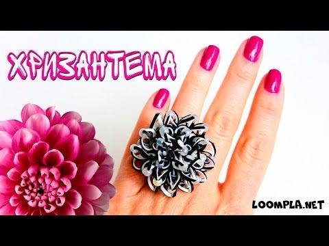 "Цветок ""Хризантема"" из резинок.Rainbow Loom Flower Loomigurumi"