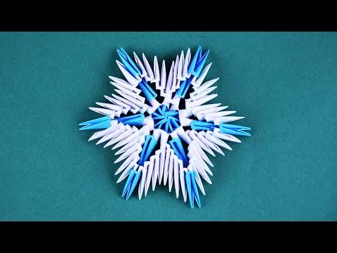 Снежинка из бумажных модулей оригами Пошаговая сборка для начинающих