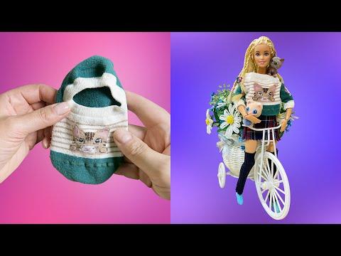 DIY Одежда для кукол Барби из старых носков🧦 Только котики 😺 Miniature hoodies and clothing