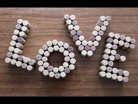 Diy: Как сделать объемные буквы /Буквы love из пробок / Декор комнаты