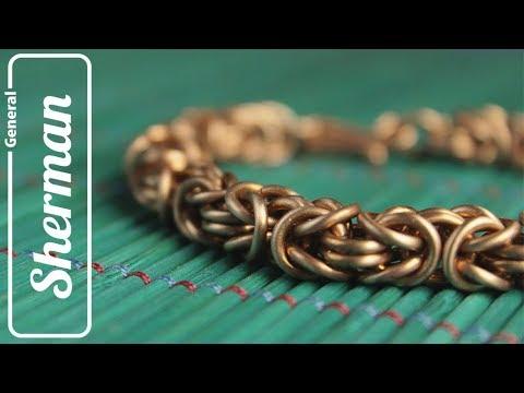 Плетеный браслет из меди
