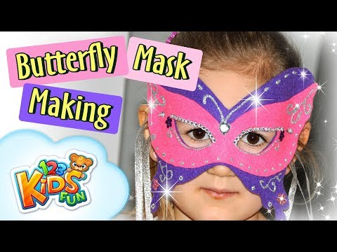 DIY by Creative Mom #2 - how to make Butterfly Masquerade Mask 123 Kids Fun