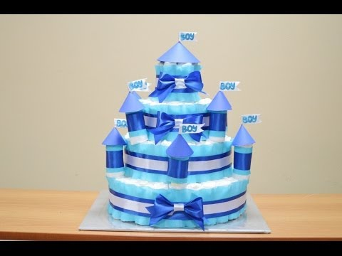 Замок из памперсов своими руками (торт из памперсов)