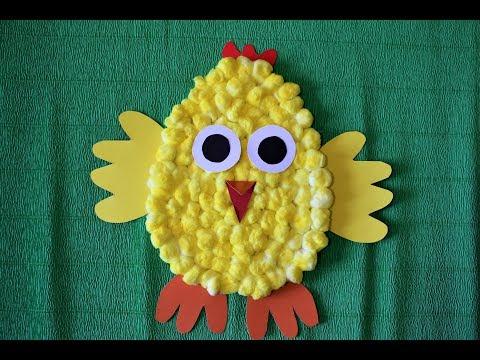 Летние поделки своими руками. Цыпленок из картона и ваты. Простые поделки из картона и ваты.