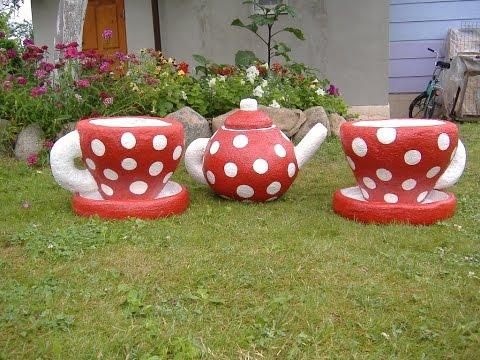 Клумбы, приглашающие к чаепитию Клумбы - чашки своими руками