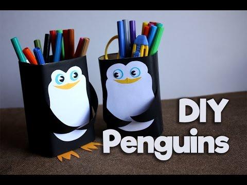 Карандашница своими руками / Подставка для карандашей / Пингвин / DIY Pencil holder - My Paper Quest