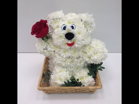 МК. Мишка из живых цветов. Как сделать игрушку из цветов?!?! Медведь из белой хризантемы.