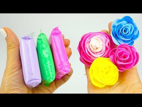 Воздушный пластилин для детей, учимся лепить розы