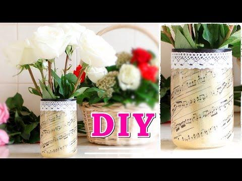 Как сделать ВАЗУ с ПРИНТОМ из стеклянной банки / VASE OF JAR #DIY NataliDoma