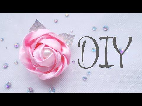 DIY: заколка с розой из атласной ленты своими руками | канзаши | hair clip with satin ribbon rose