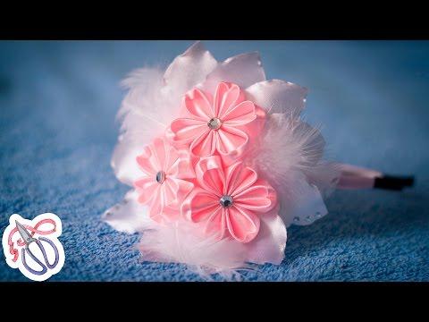 Нежный ободок с цветами Канзаши / Мастер класс Куликовой