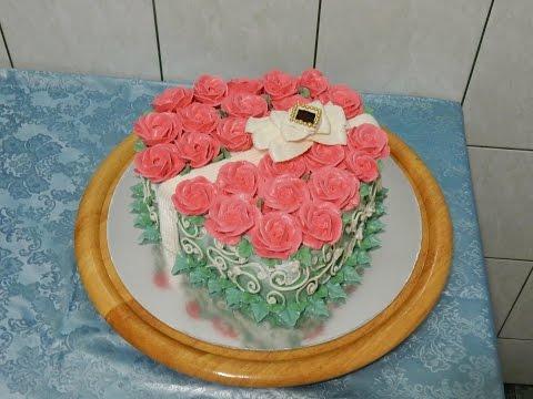 """Торт в форме сердца """"БУКЕТ РОЗ"""" НА ДЕНЬ ВЛЮБЛЕННЫХ , украшение тортов кремом, cake decoration"""