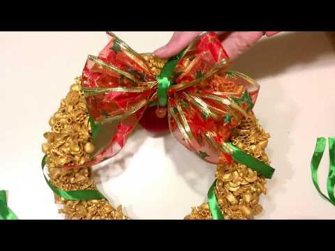 Рождественский венок из макарон (новогодняя поделка)