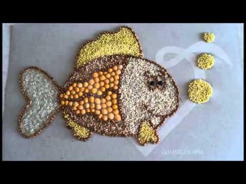 Картины из крупы и зерен - рис, кукуруза, гречка, просо