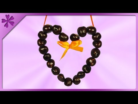 DIY How to make chestnuts heart, autumn decoration (ENG Subtitles) - Speed up #522