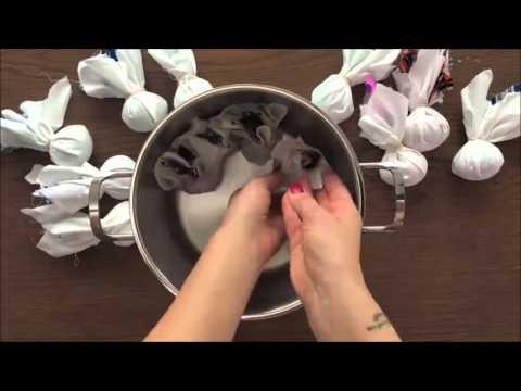 Окрашивание яиц с помощью ткани