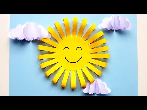 Весеннее Солнышко Объемная аппликация из цветной бумаги Летние поделки Солнышко из бумаги Paper Sun