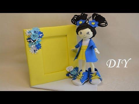 Фоторамка с куклой из фоамирана в детскую комнату//DIY Fhoto frame with a doll for a children's room