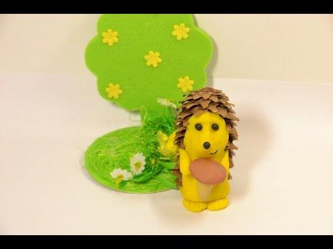 Ёжик из шишки и пластилина, поделки из пластилина и шишек своими руками | DIY Play-Doh Hedgehog