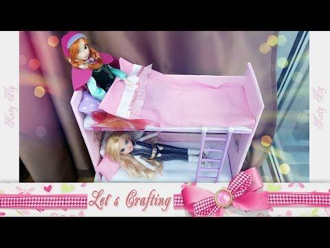 Как сделать двухэтажную кровать для кукол