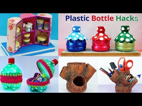 5 Plastic Bottles Craft Ideas - DIY Best out of Waste Plastic Bottle Craft Ideas