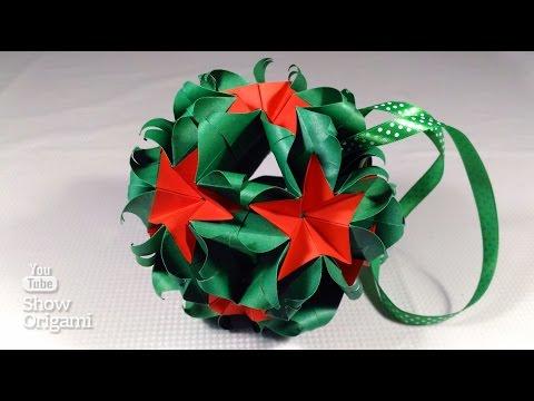 Новогодняя кусудама Натальи Романенко | Оригами кусудама шар из бумаги