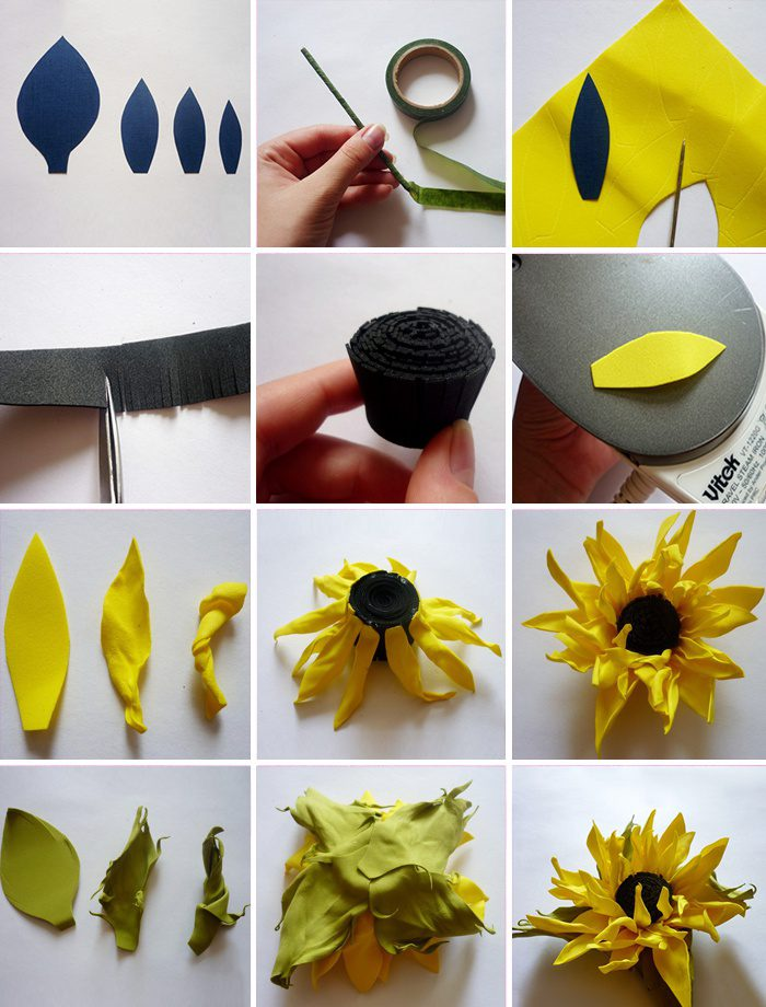 Цветы из фоамирана своими руками, с пошаговым картинками