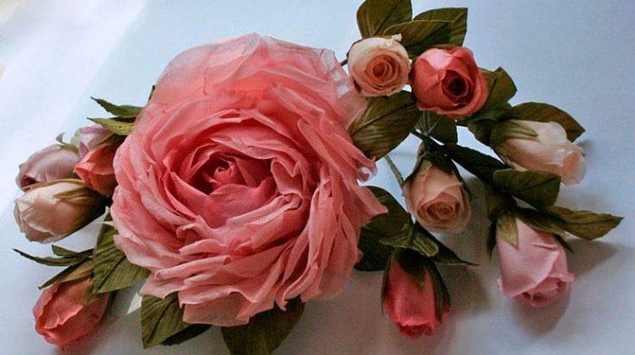 Роза из ткани своими руками фото 1