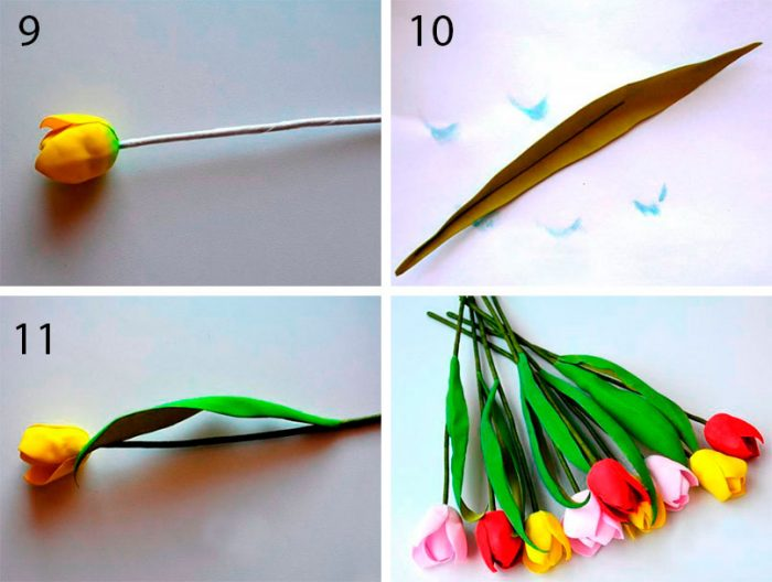 Тюльпаны из фоамирана пошагово