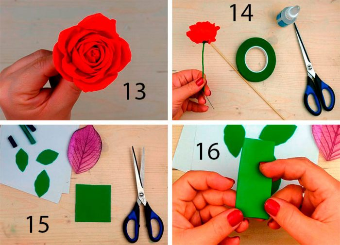 красная роза из фома мастер-класс