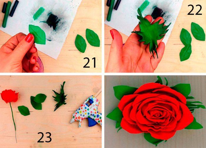 9-5-700x505 Роза из фоамирана (70 фото): как сделать своими руками, идеи и мастер-классы