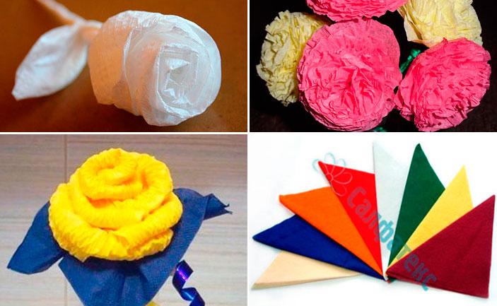 Изготовление цветов из салфеток своими руками