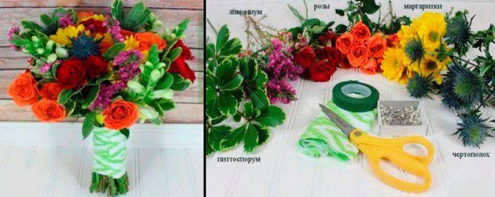 поделки из живых цветов