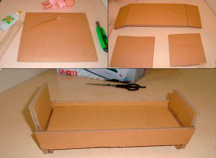 15-2-700x512 Домик и мебель для кукол своими руками из картона: схема, выкройка, фото. Как сделать кровать, диван, шкаф, стол, стулья, кресло, кухню, холодильник, плиту, коляску для кукол из картона своими руками