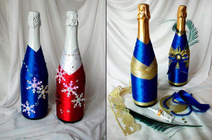 Бутылка шампанского с лентами
