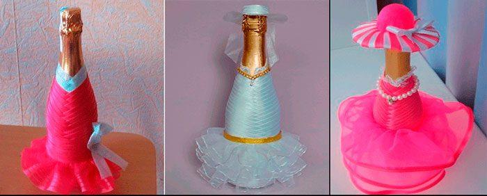 бутылка шампанского в платье из лент