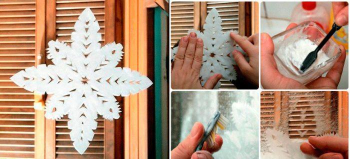 снежинка на зеркале из брызгов зубной пасты