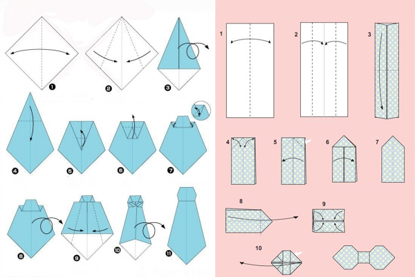 галстук и бабочка оригами