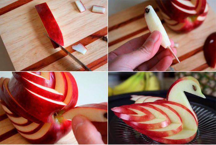 лебедь из яблока мастер-класс