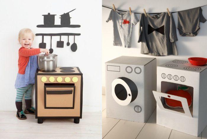 Стиральная машинка и печка из картонных коробок