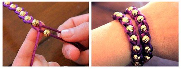 браслет из верёвки и бусин мастер-класс