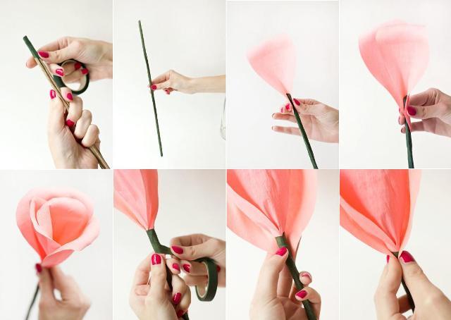 розовый цветок из гофробумаги