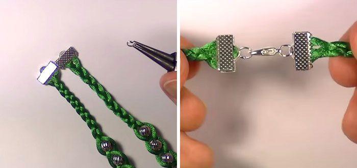 Браслет из атласных шнурков с бусинами мастр-класс