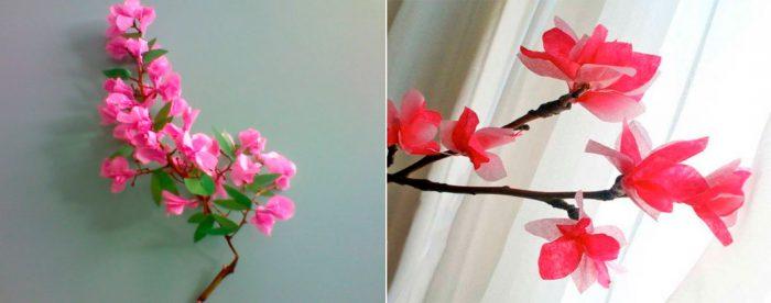 Ветка цветущей яблони из бумаги