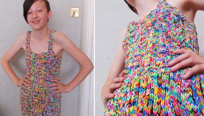 Платье из резиночек Rainbow Loom