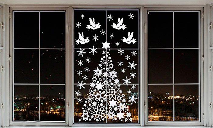 Новогодние украшения на окна своими руками фото 226